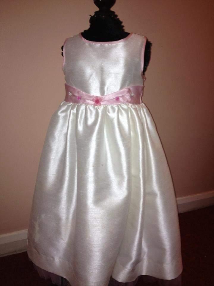 handmade pink and white children's dress