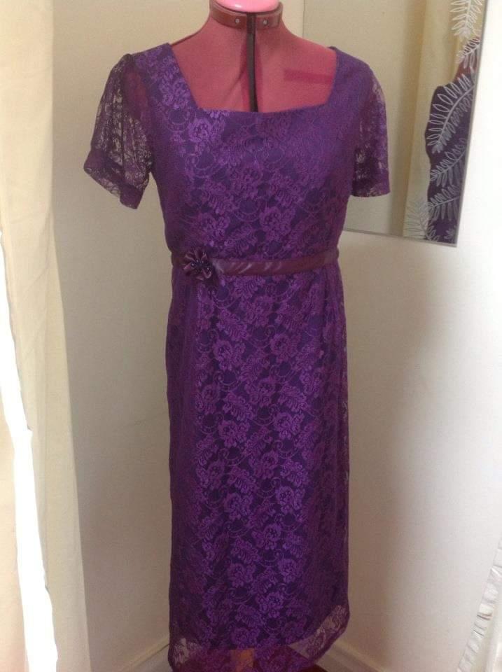dressmaking purple lace dress