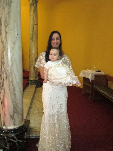 handmade christening gown mother and daughter