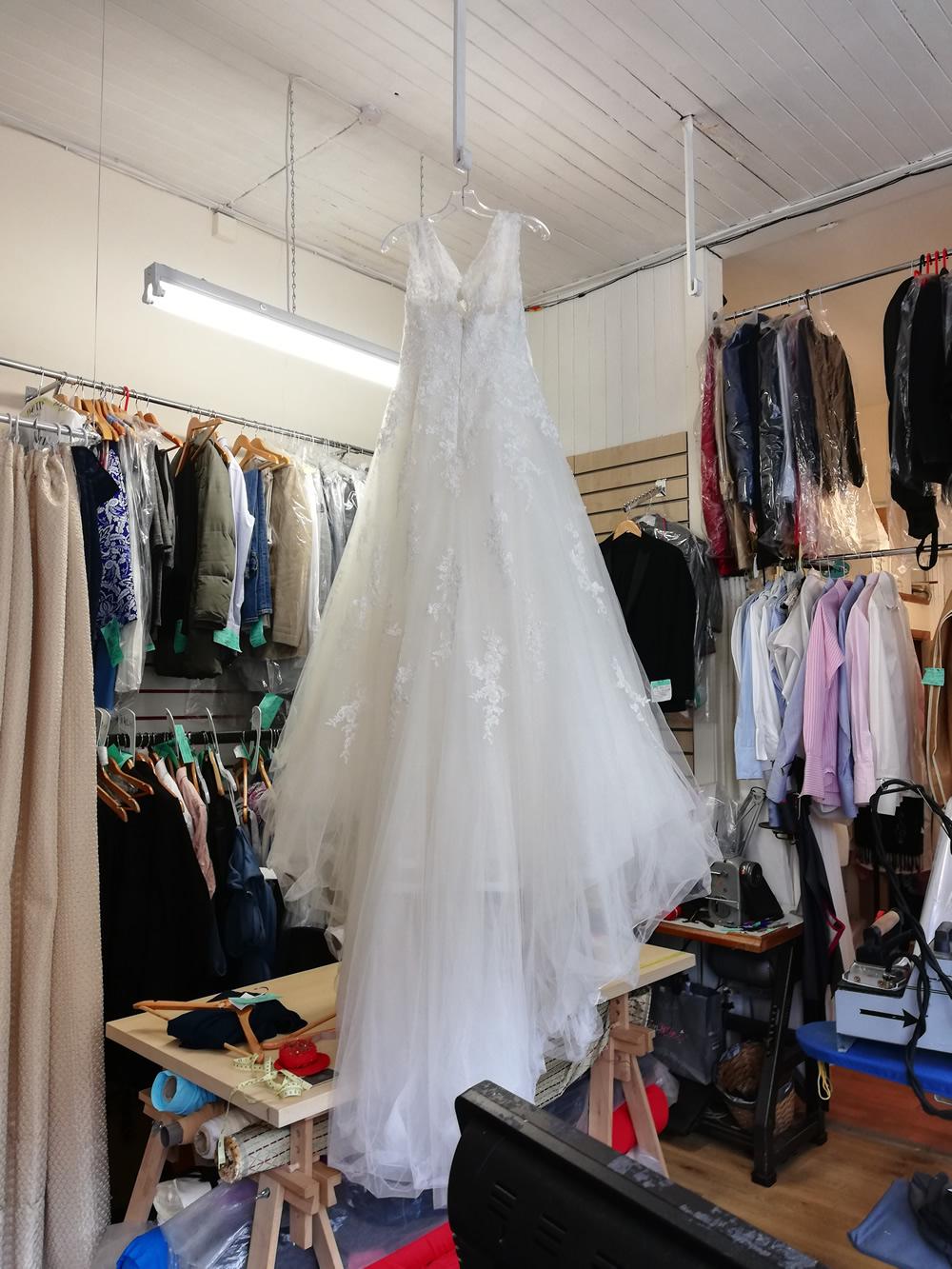 wedding dress in workroom